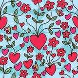Αγάπης άνευ ραφής σχέδιο σύννεφων λουλουδιών αυξανόμενο ελεύθερη απεικόνιση δικαιώματος