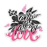 Αγάπης έννοιας εμπνευσμένη αφίσα κινήτρου χεριών γράφοντας Στοκ Εικόνα