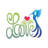 Αγάπη λέξης με την καρδιά και το πετώντας πουλί Στοκ Εικόνες