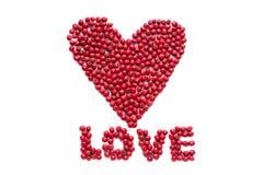 Αγάπη λέξης που σχεδιάζεται από τα μούρα Στοκ Εικόνες