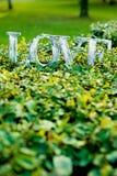 Αγάπη λέξης στο χορτοτάπητα στοκ φωτογραφίες
