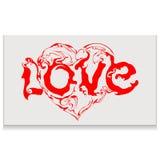 Αγάπη εγγραφής με την καρδιά Στοκ Φωτογραφία