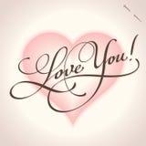 αγάπη εγγραφής χεριών διανυσματική εσείς Στοκ Εικόνες