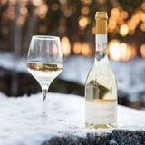 Αγάπη, ειδύλλιο, διακοπές, νέα έννοια εορτασμού έτους Μπουκάλι και ποτήρι του άσπρου κρασιού που καταψύχονται από το χιόνι στο χε Στοκ Εικόνες