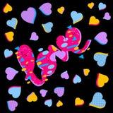 Αγάπη - επιγραφή Συρμένες καρδιές και εγγραφή Η αγάπη λέξης είναι χρωματισμένη στα διαφορετικά χρώματα απεικόνιση αποθεμάτων