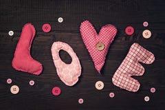 Αγάπη επιστολών υφάσματος Στοκ φωτογραφίες με δικαίωμα ελεύθερης χρήσης