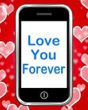 Αγάπη εσείς για πάντα στα τηλεφωνικά μέσα ατελείωτη αφοσίωση για την αιωνιότητα ελεύθερη απεικόνιση δικαιώματος