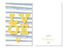 Αγάπη εσείς, ζωηρόχρωμη ευχετήρια κάρτα βαλεντίνων, διάνυσμα Στοκ εικόνες με δικαίωμα ελεύθερης χρήσης
