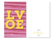 Αγάπη εσείς, ζωηρόχρωμη ευχετήρια κάρτα βαλεντίνων, διάνυσμα Στοκ Φωτογραφίες