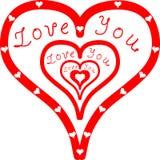 Αγάπη εσείς μέσα στις κόκκινες καρδιές Στοκ φωτογραφία με δικαίωμα ελεύθερης χρήσης