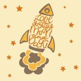 Αγάπη εσείς στο φεγγάρι και την πλάτη Συρμένη χέρι αφίσα τυπογραφίας Στοκ Εικόνα