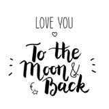 Αγάπη εσείς στο φεγγάρι και την πλάτη Στοκ Εικόνες