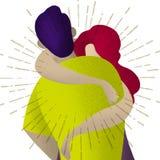 αγάπη ζευγών Δύο που αγκαλιάζουν τους εραστές Ρομαντική έννοια διανυσματική απεικόνιση