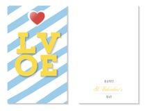 Αγάπη, ζωηρόχρωμη ευχετήρια κάρτα βαλεντίνων, διάνυσμα ελεύθερη απεικόνιση δικαιώματος