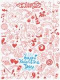Αγάπη, ημέρα βαλεντίνων - doodles συλλογή Στοκ Εικόνες