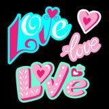 Αγάπη Καθορισμένη εγγραφή καθορισμένη αυτοκόλλητ&et στοκ εικόνες