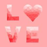 Αγάπη και καρδιά από το αφηρημένο γεωμετρικό τρίγωνο στο χαμηλό πολυ ύφος Στοκ Εικόνες