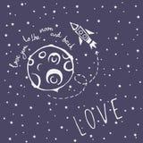 Αγάπη καρτών εσείς στο φεγγάρι και την πλάτη Στοκ εικόνα με δικαίωμα ελεύθερης χρήσης