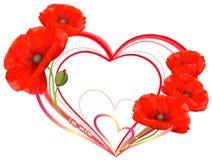 Αγάπη, καρδιά των κόκκινων παπαρουνών διανυσματική απεικόνιση