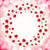 Αγάπη καρδιών γύρω από τον κυκλικό στρόβιλο γύρω από το κόκκινο υποβάθρου Στοκ εικόνα με δικαίωμα ελεύθερης χρήσης