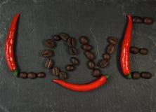 Αγάπη καφέ τσίλι στοκ εικόνες