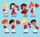 αγάπη κοριτσιών αγοριών Του ST ημέρα βαλεντίνων Στοκ φωτογραφία με δικαίωμα ελεύθερης χρήσης