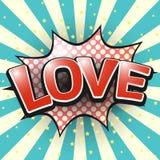 Αγάπη, κωμική λεκτική φυσαλίδα διάνυσμα Στοκ εικόνα με δικαίωμα ελεύθερης χρήσης