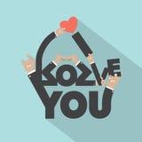 Αγάπη με το σχέδιο τυπογραφίας σημαδιών χεριών Στοκ φωτογραφία με δικαίωμα ελεύθερης χρήσης