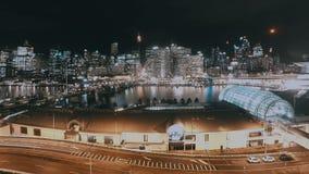 Αγάπη μου λιμενική ημέρα στη εικονική παράσταση πόλης Timelapse νύχτας με τον ορίζοντα Σίδνεϊ Αυστραλία απόθεμα βίντεο
