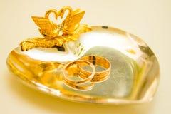 αγάπη, οικογένεια, εορτασμός, έννοια τελετής - γαμήλια σύμβολα δύο δαχτυλίδια στο χρυσό καρδιά-διαμορφωμένο δίσκο στοκ εικόνες