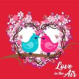 Αγάπη πουλιών PinkBlue ημέρας βαλεντίνων στη διανυσματική εικόνα αέρα Στοκ Εικόνες