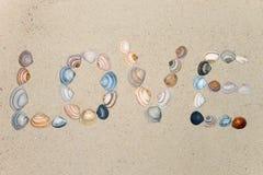 αγάπη που γράφεται με το κοχύλι στην παραλία Στοκ Εικόνα