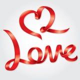 Αγάπη που διατυπώνει την κορδέλλα Στοκ φωτογραφία με δικαίωμα ελεύθερης χρήσης