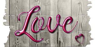Αγάπη που καταγράφεται στο ρόδινο μίγμα σε ένα ξύλινο σημάδι στοκ φωτογραφία