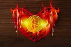 Αγάπη στα bitcoins Το νόμισμα Bitcoin βρίσκεται σε μια κόκκινη καρδιά σε μια φλόγα της πυρκαγιάς Στοκ Εικόνες