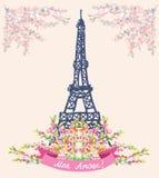 Αγάπη στη συμπαθητική κάρτα του Παρισιού - εκλεκτής ποιότητας floral σχέδιο Στοκ φωτογραφία με δικαίωμα ελεύθερης χρήσης