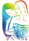 Αγάπη στις λεσβιακές γυναίκες διακοπών ημέρας βαλεντίνων με την καρδιά διανυσματική απεικόνιση