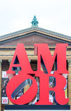 Αγάπη στον αέρα, amor κοντά στο Μουσείο Τέχνης στη Φιλαδέλφεια Στοκ φωτογραφίες με δικαίωμα ελεύθερης χρήσης
