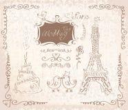 Αγάπη στο Παρίσι doodles Στοκ εικόνες με δικαίωμα ελεύθερης χρήσης