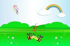 αγάπη τοπίων παραμυθιού μελισσών απεικόνιση αποθεμάτων