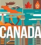 Αγάπη του Καναδά - καρδιά με τα εικονίδια και τα στοιχεία Στοκ φωτογραφία με δικαίωμα ελεύθερης χρήσης