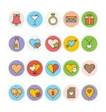Αγάπη & χρωματισμένα ειδύλλιο διανυσματικά εικονίδια 1 Στοκ εικόνες με δικαίωμα ελεύθερης χρήσης