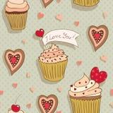 Αγάπη cupcakes Στοκ Εικόνες