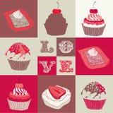 Αγάπη cupcakes. Διανυσματική απεικόνιση
