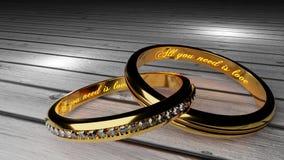 Αγάπη Orever - τα χρυσά γαμήλια δαχτυλίδια ένωσαν μαζί για πάντα με χαραγμένος και να φορέσουν γάντια λέξεις ελεύθερη απεικόνιση δικαιώματος