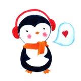 Αγάπη Penguin κινούμενων σχεδίων Απεικόνιση Watercolor που απομονώνεται στο άσπρο υπόβαθρο Στοκ Φωτογραφία