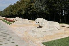 Αγάλματα λιονταριών στο δρόμο των λιονταριών, Anitkabir, Άγκυρα Στοκ Εικόνες