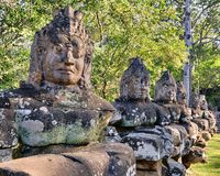 Αγάλματα πυλών ναών Bayon Prasat, Angkor, Καμπότζη Στοκ φωτογραφίες με δικαίωμα ελεύθερης χρήσης