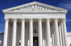 Αγάλματα το πρωινό Washington DC του Κάπιτολ Χιλλ αμερικανικού ανώτατου δικαστηρίου Στοκ φωτογραφία με δικαίωμα ελεύθερης χρήσης