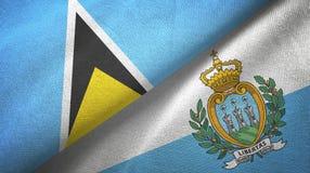 Αγία Λουκία και Άγιος Μαρίνος δύο υφαντικό ύφασμα σημαιών, σύσταση υφάσματος απεικόνιση αποθεμάτων